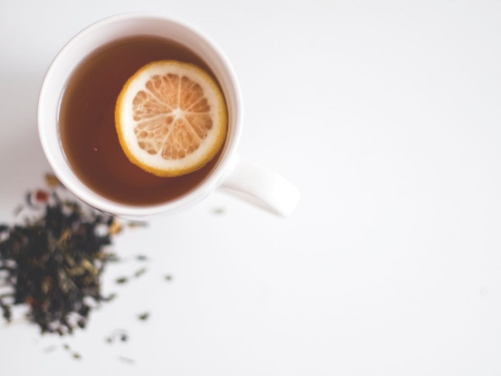 image of tea and lemon in a mug